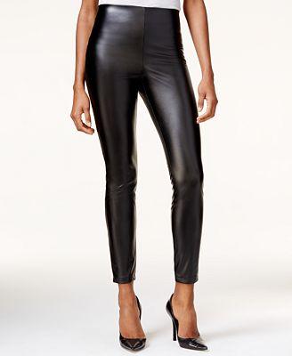 GUESS High-Rise Faux-Leather Leggings - Pants - Women - Macy's