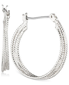 Nine West Multi-Row Textured Hoop Earrings