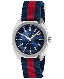 Men's GG2570 Swiss Blue-Red-Blue Web Nylon Strap Watch 41mm YA142304