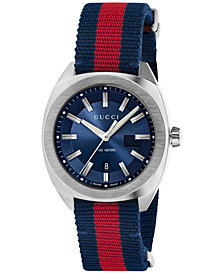 Gucci Men's GG2570 Swiss Blue-Red-Blue Web Nylon Strap Watch 41mm YA142304