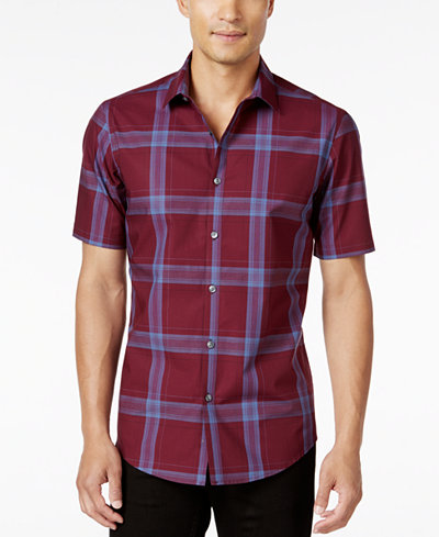 Alfani Men's Big and Tall Slim Fit Short-Sleeve Plaid Shirt, Only ...