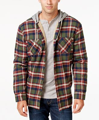 Weatherproof Vintage Men's Hooded Plaid Shirt Jacket, Classic Fit ...