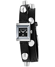 Gucci Women's Swiss G Frame Black Studded Leather Double Wrap Strap Watch 14x18mm YA128520