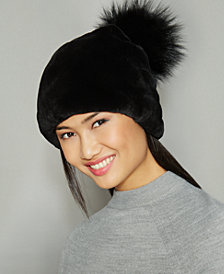 The Fur Vault Fox-Fur-Pom Rabbit Fur Beanie