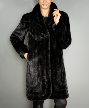 1940s Coats & Jackets Fashion History The Fur Vault Shawl-Collar Mink Fur Coat $7,695.00 AT vintagedancer.com