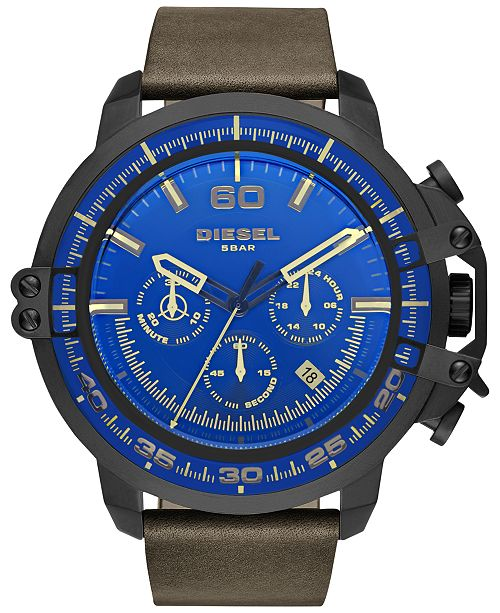Diesel Men's Chronograph Deadeye Dark Brown Leather Strap Watch 51x56mm DZ4405