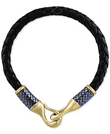 EFFY® Men's Black Leather Woven Bracelet in Gray Rhodium-Plated and 18k Gold-Plated Sterling Silver