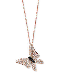 EFFY® Diamond Butterfly Pendant Necklace (1/2 ct. t.w.) in 14k Rose Gold