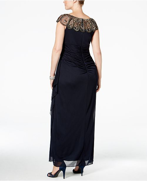 Xscape Plus Size Illusion Beaded Gown Dresses Women Macys