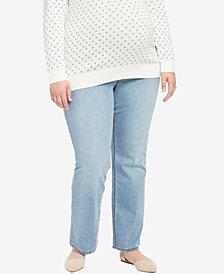Jessica Simpson Plus Size Day Break Light Wash Boot-Cut Maternity Jeans