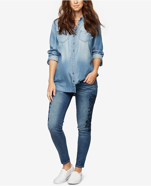 1d30ed658a6f1 A Pea in the Pod Maternity Chambray Shirt & Reviews - Maternity ...