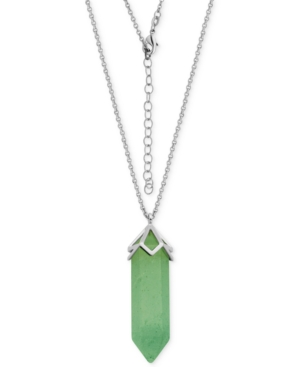 Dyed Green Quartzite Long Pendant Necklace (27-3/8 ct. t.w.) in Silver-Plate