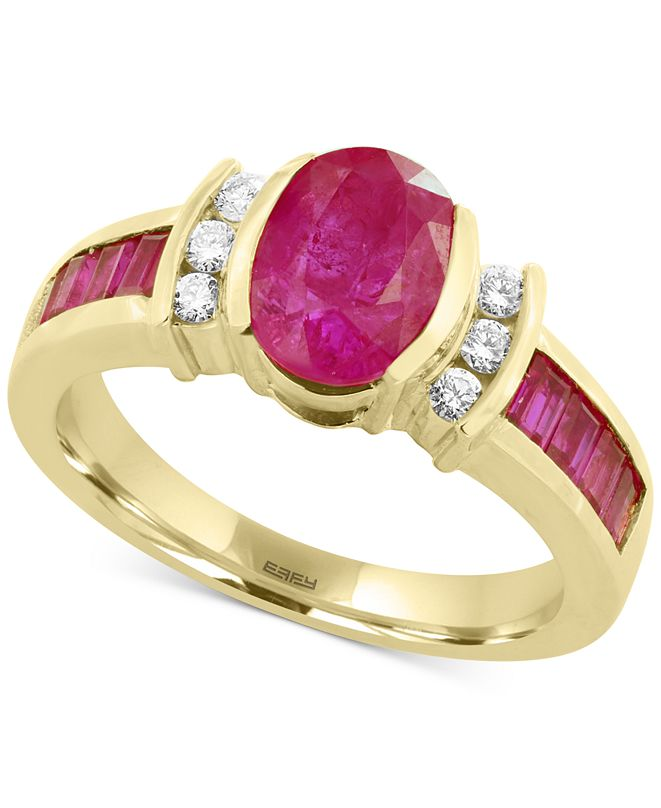 EFFY Collection Amoré by EFFY® Certified Ruby (2-1/5 ct. t.w.) and Diamond (1/8 ct. t.w.) Ring in 14k Gold, Created for Macy's