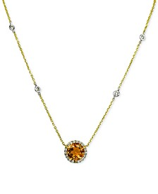Citrine (2 ct. t.w.) and Diamond (1/5 ct. t.w.) Pendant  Necklace in 14k Gold and White Rhodium