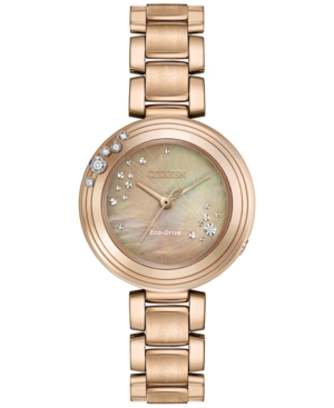 Citizen Eco-Drive Women's Carina Diamond Accent Rose Gold-To