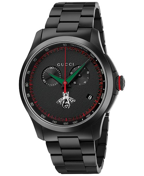 766a7dec35c ... Gucci Men s Swiss Chronograph G-Timeless Black PVD Stainless Steel  Bracelet Watch 44mm YA126269 ...