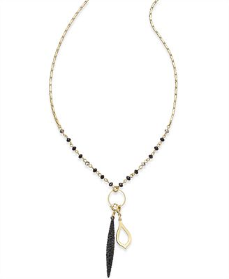 INC International Concepts Gold-Tone Beaded Long Pendant Necklace, Only at Macy's