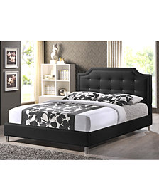Ashima Modern Bed with Upholstered Headboards, Quick Ship