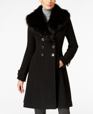 1950s Style Coats and Jackets Ivanka Trump Faux-Fur-Trim A-Line Walker Coat $299.99 AT vintagedancer.com