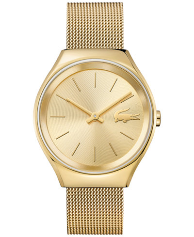 lacoste women 39 s valencia gold tone stainless steel mesh bracelet watch 38mm 2000952 watches. Black Bedroom Furniture Sets. Home Design Ideas