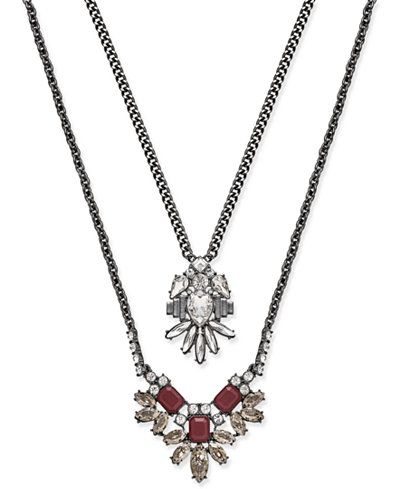 ABS by Allen Schwartz Silver-Tone Layered Pendant Necklace