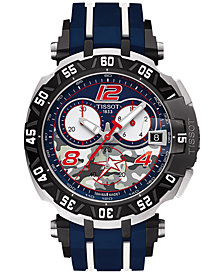 Tissot Men's Swiss Chronograph T-Race Nicky Hayden Limited Edition 2016 Blue & White Rubber Strap Watch 45x47mm T0924172705703
