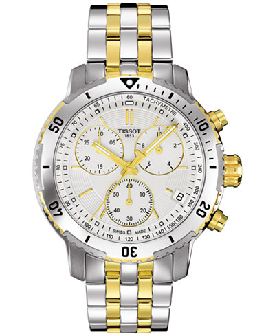 Tissot Men's Swiss Chronograph PRS 200 Two-Tone Stainless Steel Bracelet Watch 42mm T0674172203101