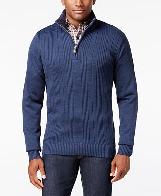 Tricot St. Raphael Men's Faux Fur Trim Rib-Knit Sweater