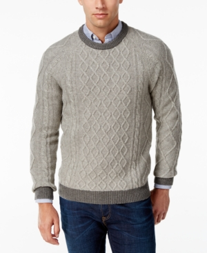 Men's Vintage Style Sweaters – 1920s to 1960s Club Room Mens Cable-Knit Sweater Only at Macys $14.99 AT vintagedancer.com