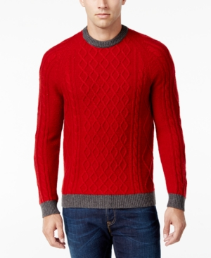 Men's Vintage Style Sweaters – 1920s to 1960s Club Room Mens Cable-Knit Sweater Only at Macys $19.99 AT vintagedancer.com
