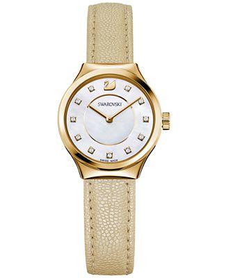 Swarovski Women's Swiss Dreamy Light Golden Leather Strap Watch 28mm 5213746