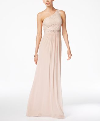 Embellished Lace One-Shoulder Gown