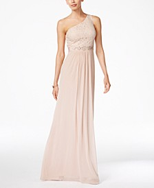 Embellished Lace One-Shoulder Gown