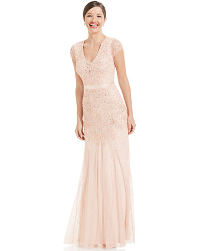 Adrianna Papell Cap-Sleeve Embellished Gown - Women - Macy\'s
