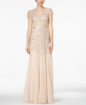 1920s Cocktail Party Dresses, Evening Gowns Adrianna Papell Cap-Sleeve Embellished Gown $299.00 AT vintagedancer.com