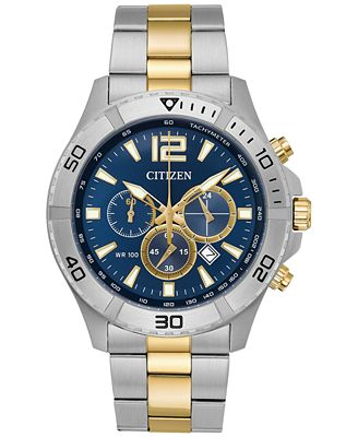 Citizen Men's Chronograph Two-Tone Stainless Steel Bracelet Watch 44mm AN8124-56L, A  Exclusive