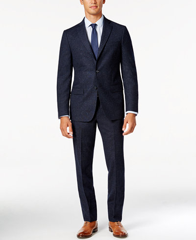 DKNY Men's Slim-Fit Blue Donegal Suit