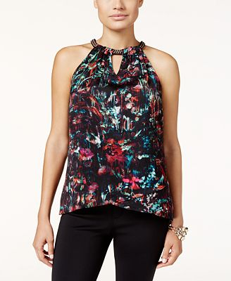 Thalia Sodi Chain-Neck Printed Top, Only at
