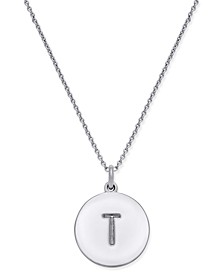 "Silver-Tone Disc Initials 18"" Pendant Necklace"