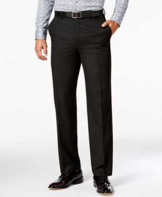 Men's Classic-Fit Black Solid Pants
