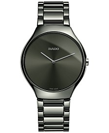 Rado Unisex Swiss True Thinline Black Plasma High-Tech Ceramic Bracelet Watch 39mm R27955122