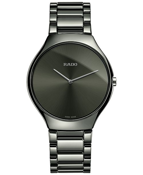 bbc9dafe2 ... Rado Unisex Swiss True Thinline Black Plasma High-Tech Ceramic Bracelet  Watch 39mm R27955122 ...