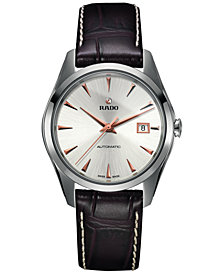 Rado Men's Swiss Automatic HyperChrome Brown Leather Strap Watch 39mm R32115115