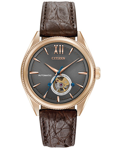 Citizen Men's Automatic Grand Classic Brown Leather Strap Watch 42mm NB4003-01H