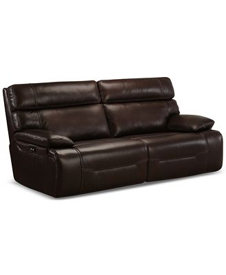 Furniture Barington 85 Leather Sofa With 2 Power Recliners Power