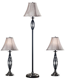 Kenroy Home Sperry Set of 3: 1 Floor Lamp & 2 Table Lamps