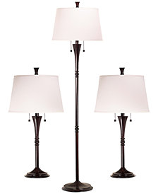 Kenroy Home Park Ave 3-Pc. Lamp Set: 1 Floor Lamp & 2 Table Lamps