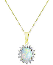 "18"" Opal (1-1/2 ct. t.w.) and White Topaz (5/8 ct. t.w.) Pendant Necklace in 18k Gold-Plated Sterling Silver"