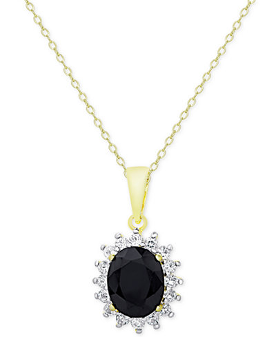 Sapphire (3 ct. t.w.) and White Topaz (5/8 ct. t.w.) Pendant Necklace in 18k Gold-Plated Sterling Silver