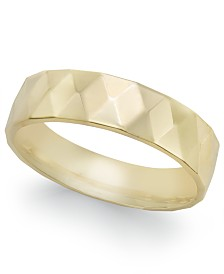 Geometric Textured Wedding Band in 18k Gold